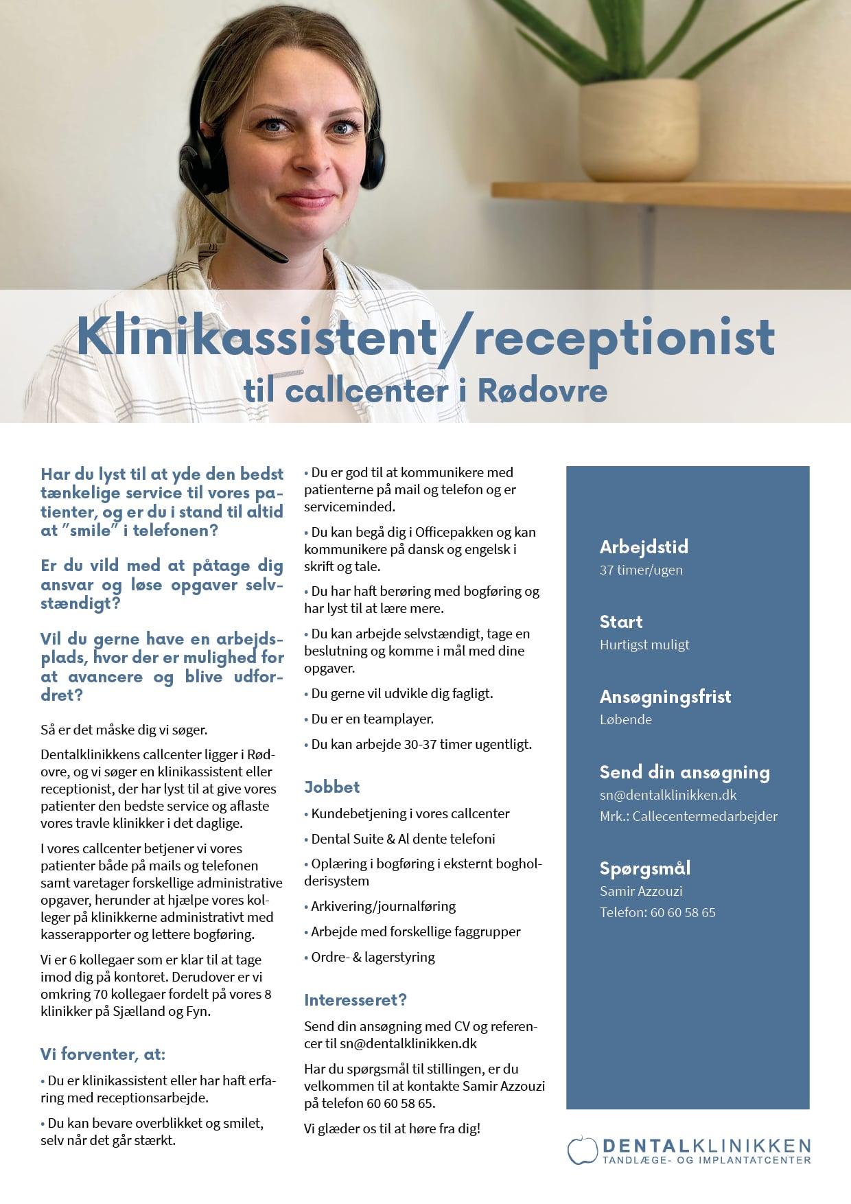 Klinikassistent/receptionist til callcenter